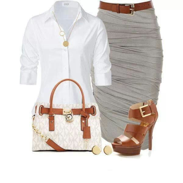 White shirt pencil skirt (perfect outfit for work- professional and stylish :)
