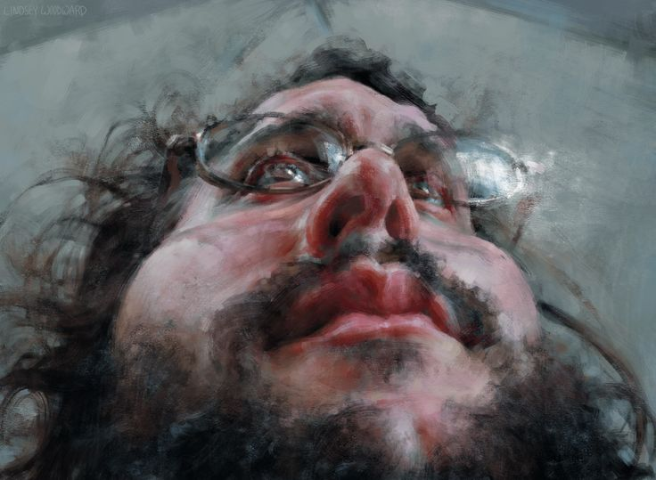 """This is a digital Painting of Jud Lively by Lindsey Lively.  It's a part of a series of paintings called """"Extreme Perspectives.""""  More of Lindsey's artwork can be seen at her blog: www.Judsey.com"""