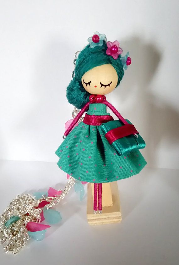 Brooch and Necklace jewelry doll by Delafelicidad on Etsy