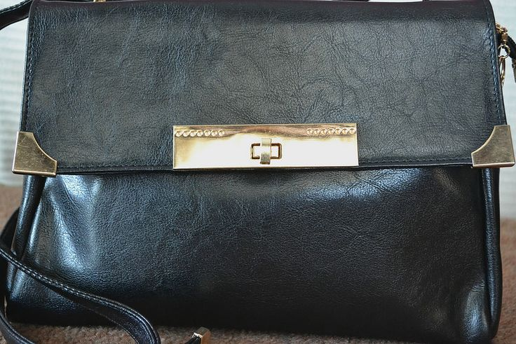 everyday leather vintage-like bag with golden details just for 5 pounds
