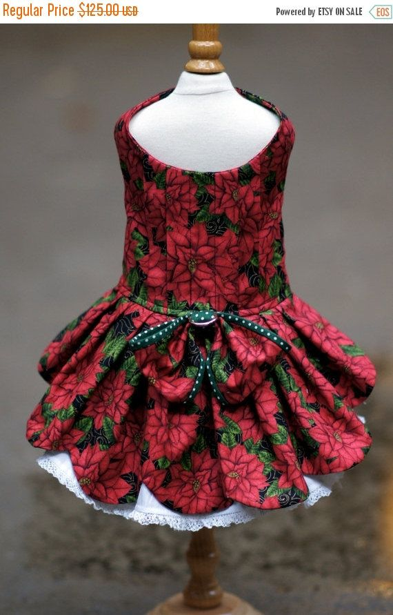 ON SALE Christmas Poinsettia Dog Dress by LOLADOGdesigns on Etsy