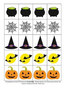 Ten different pictures, use to create patterns, writing rebus sentences, playing a game, etc. Corresponds with my Halloween Bingo and Halloween Fun in PreK, for even more fun! If you like this freebie, please come back to leave me some feedback! Thank you and enjoy!