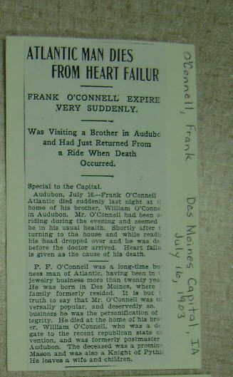 Musings of MidwestAncesTree: Wordless Wednesday: Iowa Obituary: Frank O'Connell 16 July 1903 #genealogy