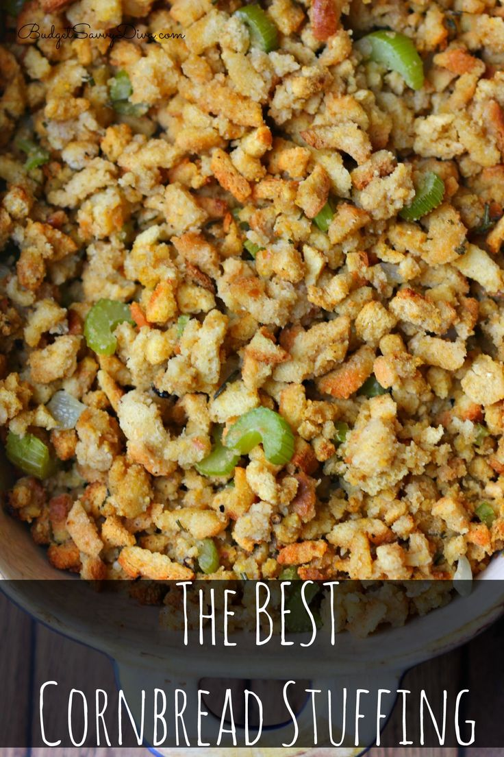 Pinning this... The instuction are not very good but the recipe sound goods.  The Best Cornbread Stuffing Recipe