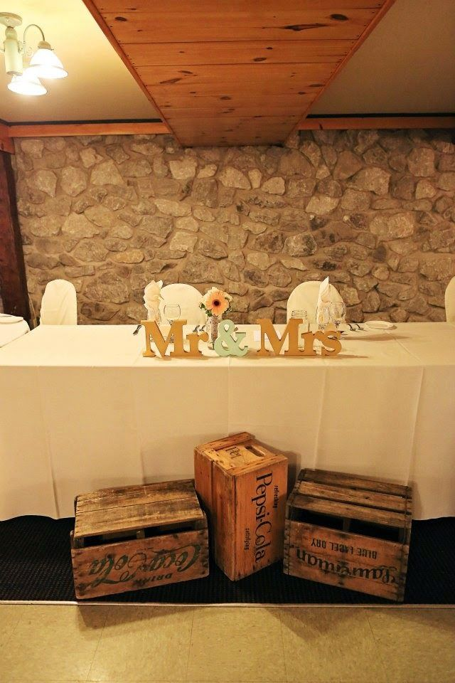 Head Table idea for reception in Alexis room at Hernder Estate Winery - our venue, in St.Catharines, ON, Canada  (liking the vintage crates)