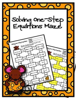 Solving One-Step Equations Maze from Ayers Math Flares on TeachersNotebook.com -  (5 pages)  - Help the mice find the correct path to the cheese by solving one-step equations.