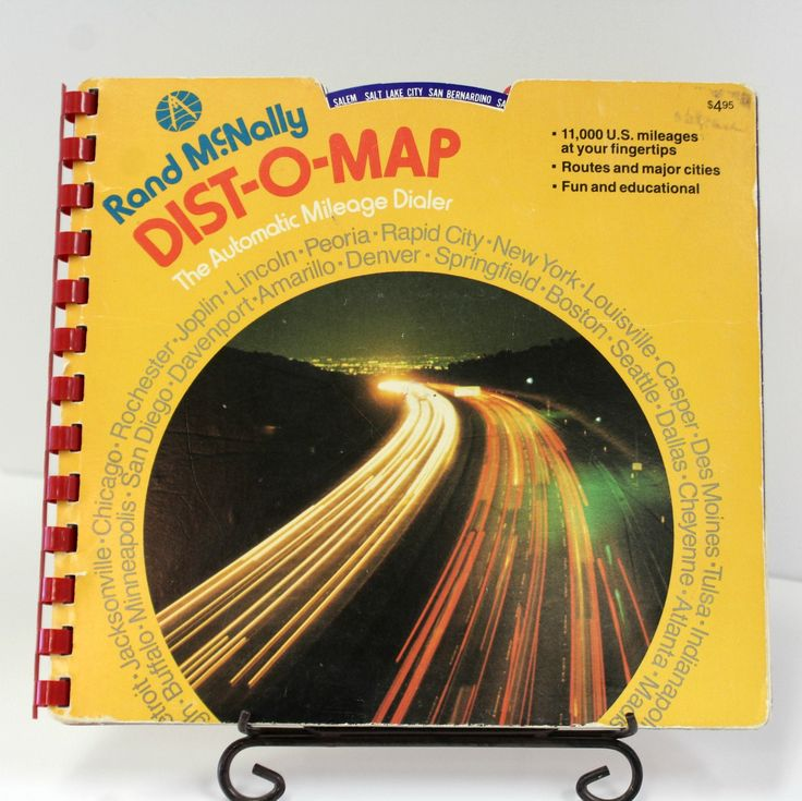 Vintage Rand McNally Dist-O-Map, The Automatic Mileage Dialer, Fun and Educational, 11,000 U.S. Mileages at Your Fingertips