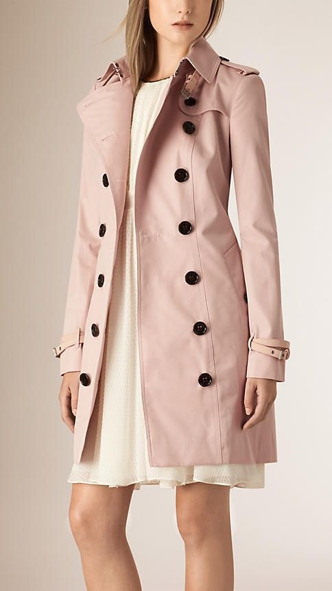 Ice pink Leather Trim Cotton Gabardine Trench Coat - Image 4