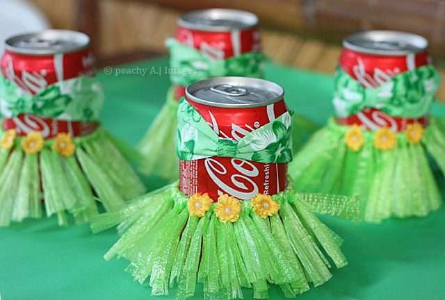 hula cans. This would be cute for a summer party. Guests can decorate their cups so they know it is theirs.