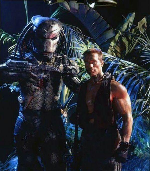 Arnold Schwarzenegger Y The Predator Depredador Pelicula Alien Vs Depredador Personajes De Terror
