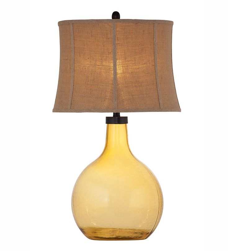 Glass amber table lamp with linen shade plow and hearth 299 95