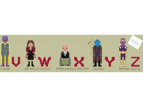 Marvel Superhero Alphabet Comic Book Cross Stitch от knottybytes