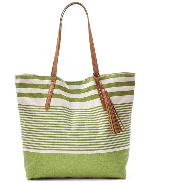 SONOMA Goods for Life™ Canvas Tassel Tote (£14) ❤ liked on Polyvore featuring bags, handbags, tote bags, green, tote purses, man tote bag, green tote bag, canvas tote bags and white tote