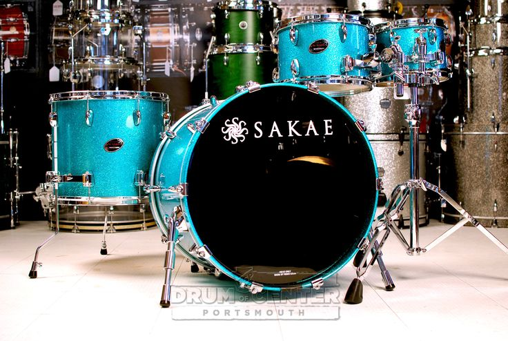 Sakae Almighty Maple 4pc Drum Set Turquoise Champagne 22x18 *no mount*, 10x7, 12x8, 16x14. Drums only; hardware/mounts sold separately. This drum kit was displayed at the 2015 NAMM show and shows wear on the heads as a result. The kit is otherwise in new condition! Purchase Here: http://www.drumcenternh.com/drums/drum-sets/sakae-almighty-maple-4pc-drum-set-22-10-12-16-turquoise-champagne.html