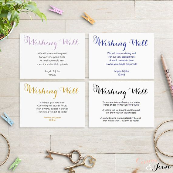 Printable Wedding Wishing Well card  Gold Black by ConnieAndJoan