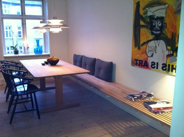 Esstisch mit Sitzbank holz bodenbelag stühle hängelampen