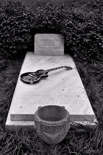 Duane Allman of the Allman Brothers died a motorcycle accident in 1971 -- Rose Hill Cemetary ~ Macon, GA