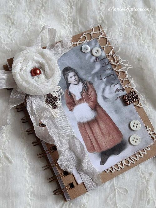 altered journal by AppleApricot: Winter warm little notebook