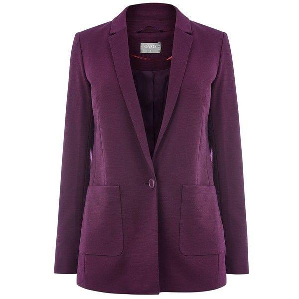 Oasis Boyfriend Blazer (1,570 THB) ❤ liked on Polyvore featuring outerwear, jackets, blazers, oasis jackets, short-sleeve blazers, fitted blazer jacket, long sleeve jacket and purple jacket