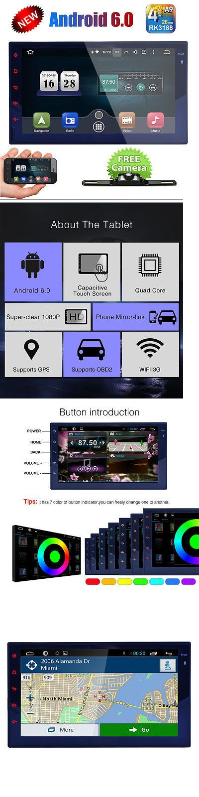 Vehicle Electronics And GPS: Android 6.0 Double Din Car Stereo Radio Gps Wifi 3G Obd2 Hd Mirror Bt No Dvd -> BUY IT NOW ONLY: $178.93 on eBay!