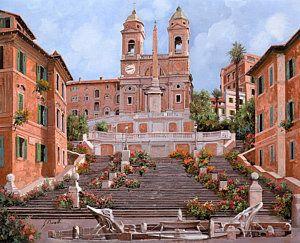 Painting - Rome-piazza Di Spagna by Guido Borelli