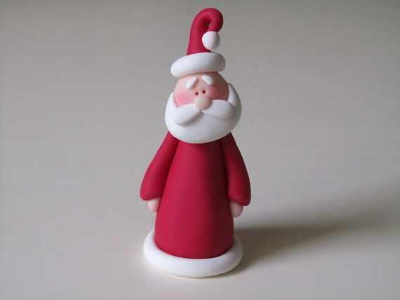 Whimsical Polymer Clay Christmas Santa by ClayPeeps on Etsy
