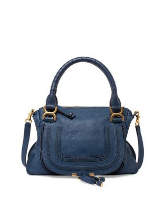 Marcie Medium Satchel Bag, Navy by Chloe at Neiman Marcus.