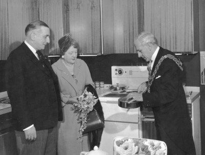 Mayor at Rackhams opening, 1960. It is now an Army & Navy store.