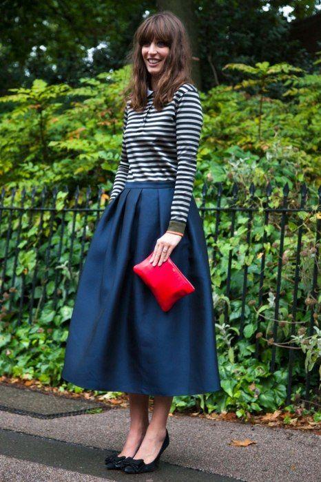 Classic / London Fashion Week / Stripes / Full Skirt / Pop Of Red