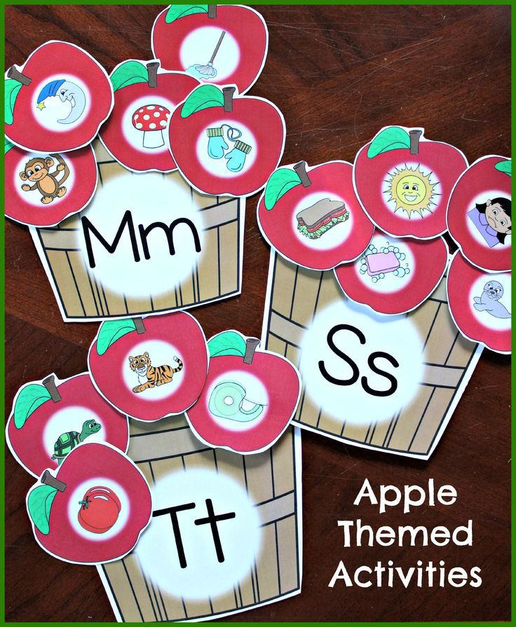 The apple themed beginning sound baskets include over 120 colorful apples for sorting by sound. This activity can be easily differentiated as you choose which and how many apples to sort.