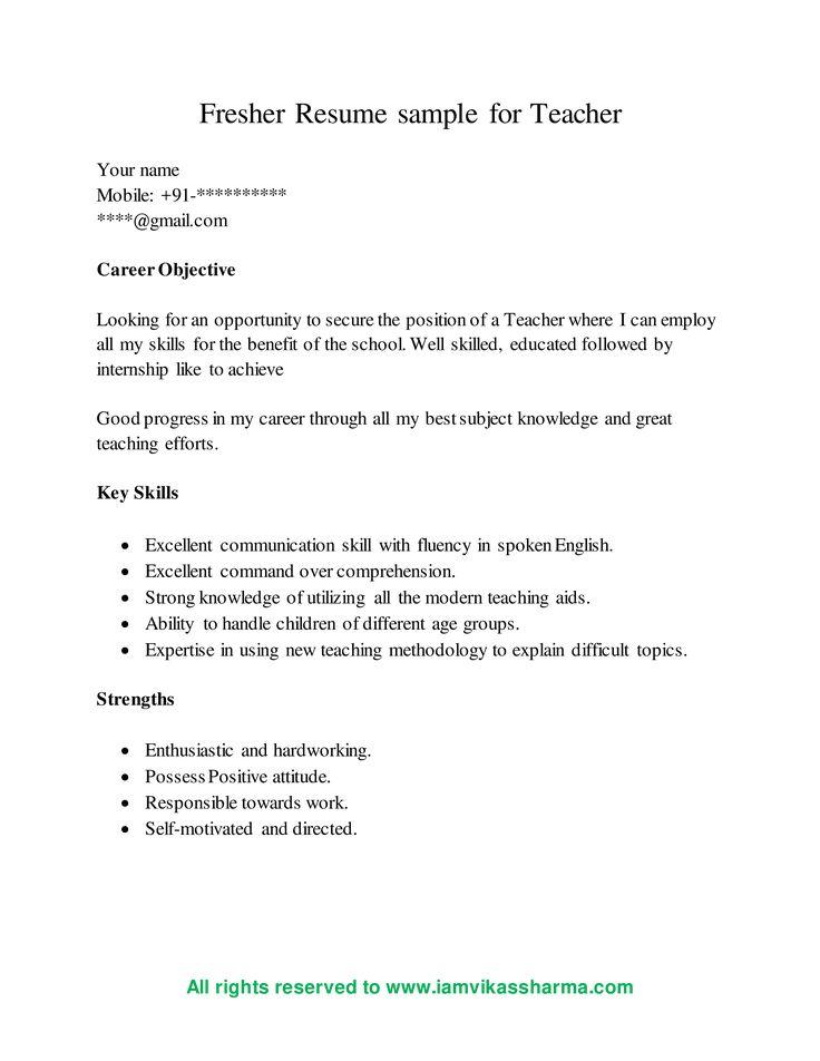 Teacher Fresher Resume - How to draft a Teacher Fresher ...
