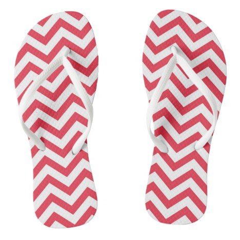 Pink And White Large Chevron Stripe Flip Flops #chevron #patterned #footwear #fashion