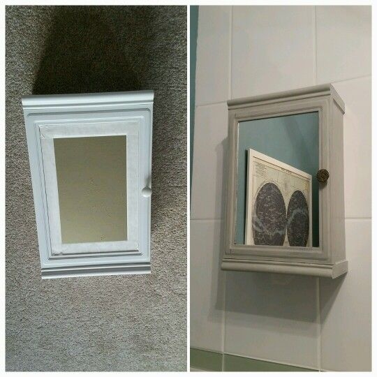 My upcycled bathroom mirror painted with craig and rose chalk paint, waxed and antique brass handle added