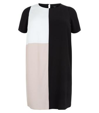 Curves Black Colour Block Swing Dress | New Look