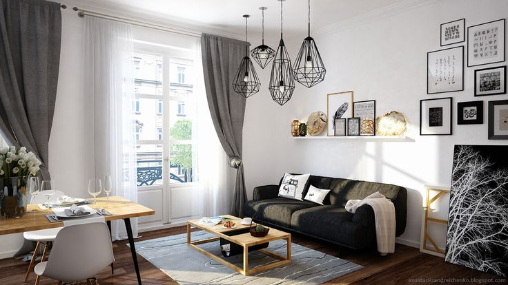 These gorgeous interiors were designed by Russian designer Anastasia Andreichenko. The project was named Monochrome.