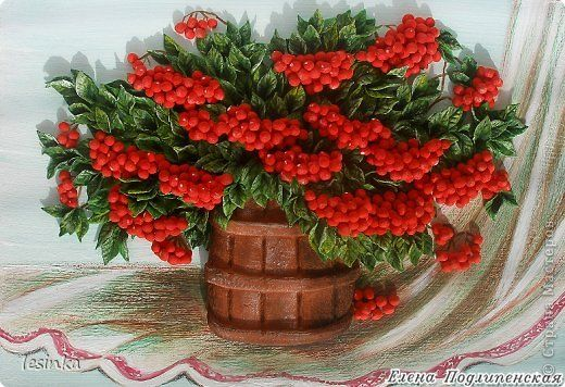 Картина панно рисунок Лепка Ах эта красная рябина Тесто соленое фото 1
