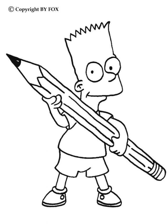 Bart S Pencil Coloring Page More The Simpsons Coloring Sheets On