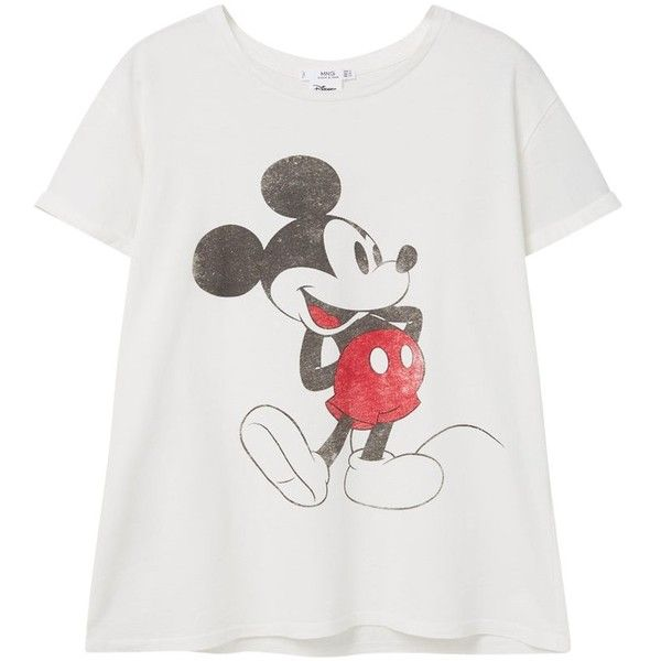 Mango Printed Mickey Mouse T-Shirt, Natural White (£16) ❤ liked on Polyvore featuring tops, t-shirts, white top, mango tops, mango t shirt, mickey mouse tee and round neck t shirt
