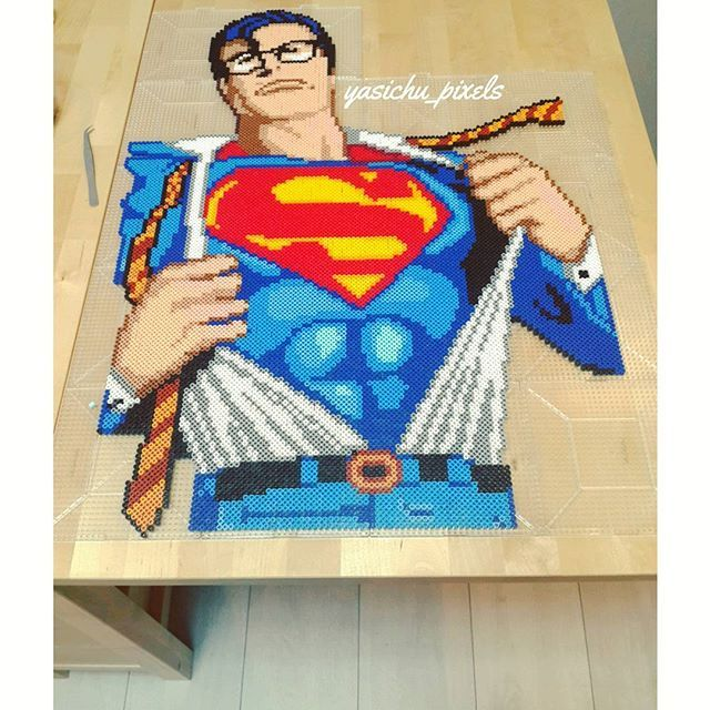 Superman perler beads (18 pegboards) by yasichu_pixels