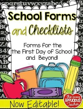 """Back to school formsClassroom FormsThis pack is now EDITABLE! There are so many things we as teachers need to keep track of! That is why I compiled all of my favorite forms in one place! These forms and checklists will take you from """"Meet the Teacher"""" to the last day of school."""