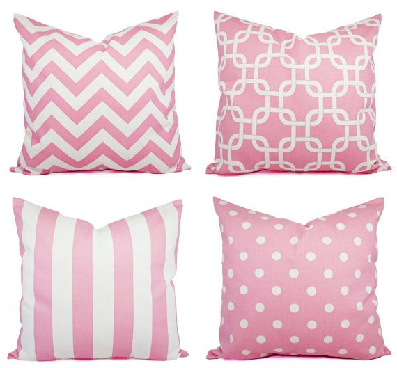 Baby Pink Throw Pillow Covers - Pink Decorative Throw Pillow - Light Pink Pillow - Pink Chevron ...