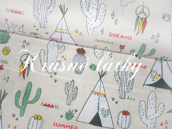 115** praha 9 **Mexiko š.150 cm 100% bavlna metráž, kaktusy, indiánský stan, teepee