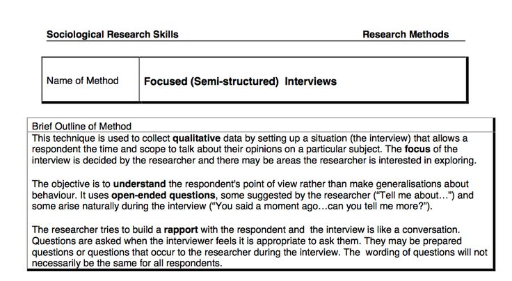Methodologies - Semi-structured interviews