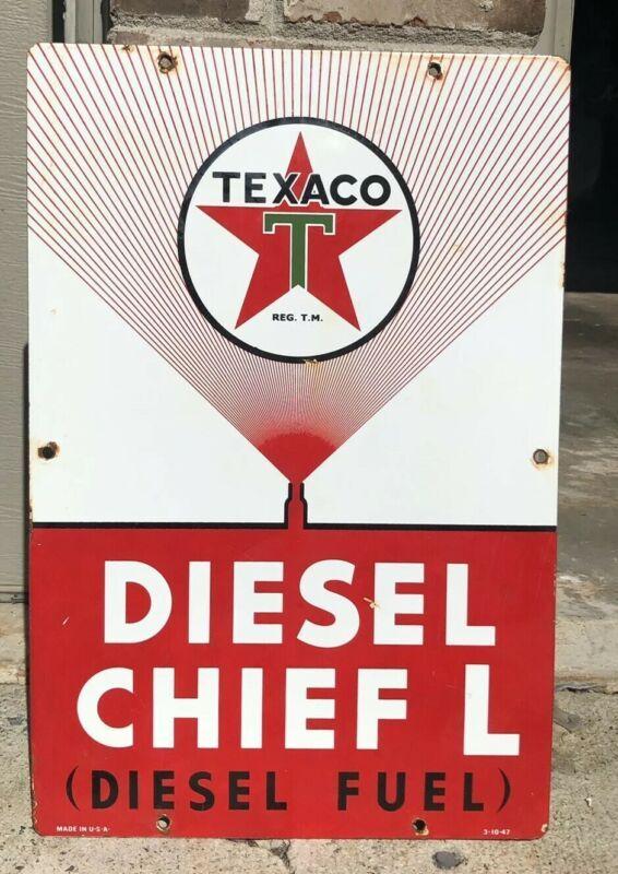 Texaco Fuel Chief Diesel 1 Gasoline metal sign baked Oil Gas Pump Plate