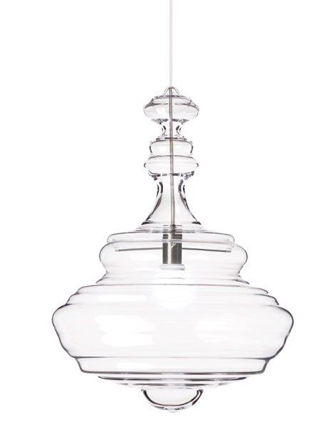 Lasvit's Neverending Glory collection of handblown glass pendant lamps. The Bolshoi fixture is pictured.