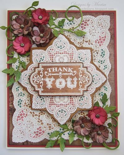 Beautiful Card designed by Marisa Job designed using Lace Medallion and Lace Background Stamp