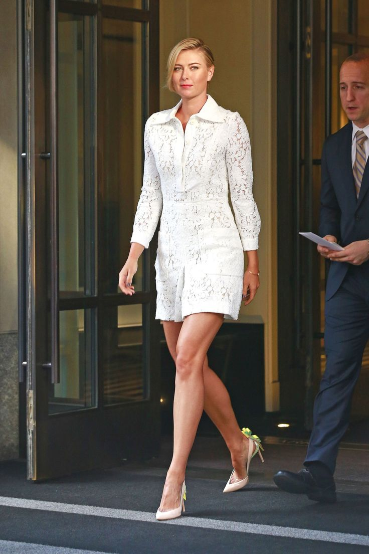 Maria Sharapova in a lace white Chloé dress and emebellished nude pointed-toe heels