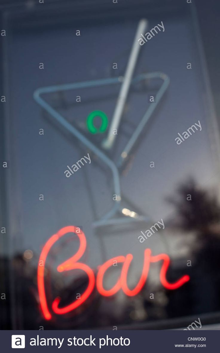 Download this stock image: Neon bar sign in window - CNW0G0 from Alamy's library of millions of high resolution stock photos, illustrations and vectors.