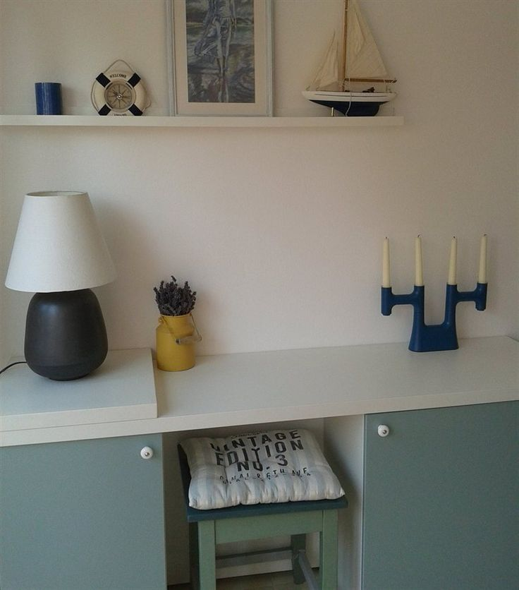 Nautical-themed workspace made from IKEA kitchen cabinets | Smart use of space!