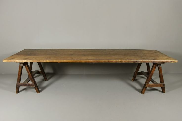 Used Trestle Tables #7 - Early Century Pine And Alder Trestle Table